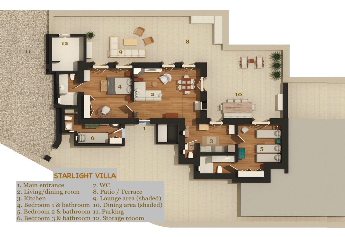 LLB Mykonos luxury villas starlight villa Floor plan