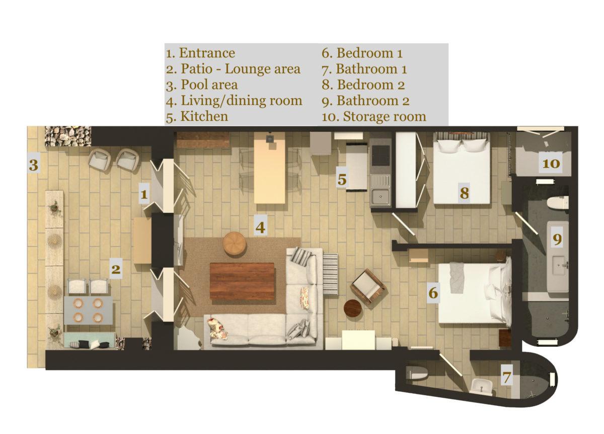 LLB Luxury Villas & Suites Selene Suite Floor plan
